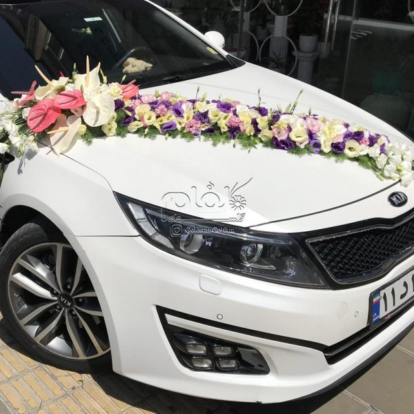 ماشین عروس ریسه ای با آنتوریوم